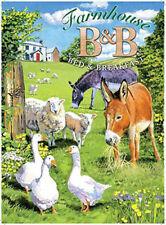 Farmhouse B&B, Bed and breakfast, farm animals. Small Metal/Steel Wall Sign