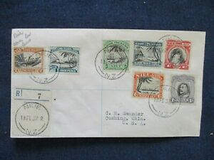 1937 Cook Islands Set of Stamps First Day Cover Registered to US
