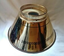 """Vintage Shiny Gold wCoated Inside Toleware Tin Metal Lamp Shade 12"""" W x 7"""" T~NOS"""