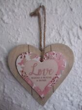"""""""LOVE Makes A House A Home"""" Shabby Chic Wooden Wall Plaque"""