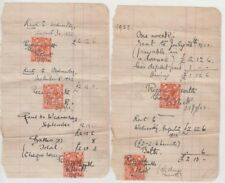 Stamps England 2d orange KGV on 1922 pair receipt pages for rent payment