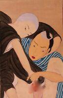 SHUNGA Estampe Japonaise curiosa Erotique peinte à la main fin 19 ème siècle