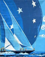 America's Cup Sailboat Original Art PAINTING DAN BYL Modern Contemporary 4x5 ft