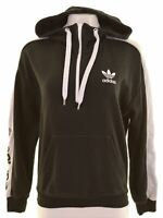 ADIDAS Womens Hoodie Jumper UK 8 Small Black Cotton Vintage BY11