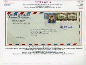 Nicaragua Catholic Church Cover LOT #200 1958 2x Weight MANAGUA - CALIFORNIA $$$