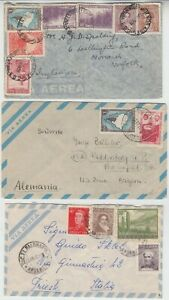 ARGENTINA 1939/60 3x covers to ENGLAND, US occupied GERMANY & TRIESTE,ITALY