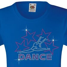 "Girl's T-Shirt (12 Colour options) Rhinestone ""Dance with Stars"" 3-15 Years Gift"