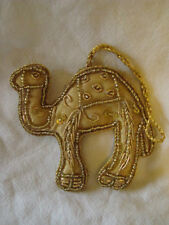 GOLD AND BEADED CAMEL SHAPED WALL HANGING OR CHRISTMAS DECORATION HANDMADE INDIA