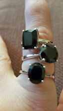 Size N to O Black Spinel Sterling Silver set for three Rings 11.51 ct