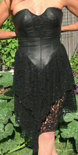 Leather and Lace Strapless Black Dress Ladies Size10 Boho Bondage 1990's