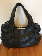 Coach Ergo Pleated Kisslock Satchel Black Leather Tattersall Lining 12248