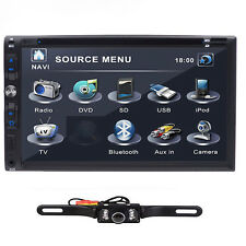 7inch Double 2Din Car Stereo Player 3D Bluetooth TV MP3 HD Receiver iPod +Camera