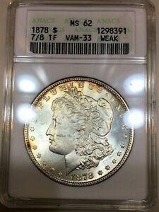 1878 7/8 TF Weak Morgan Silver Dollar ANACS MS62 Beautiful Coin Nice Toning