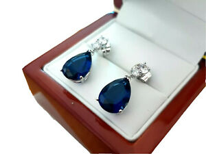 White gold finish Teardrop blue sapphire and created diamond dangle earrings