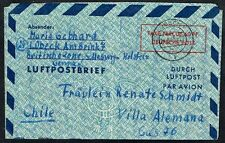 1426 GERMANY TO CHILE PS STATIONERY AIR LETTER AEROGRAMME 1950 LUBECK, V ALEMANA
