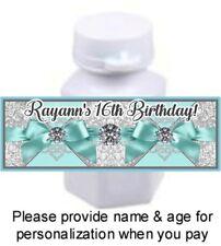 30 Tiffany Blue Ribbon Diamonds Birthday Party Baby Shower Mini Bubble Stickers