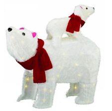 Lighted Furry Polar Bear Sculpture Outdoor Christmas Yard Decoration Lawn Prelit