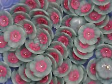 Vintage Seafoam Green Pink Floral Blossom Shank Buttons Lot of 4 A16-1