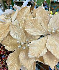 Artificial Light Gold Glitter Poinsettia Velvet Finish 23cm across 3 For £10.99