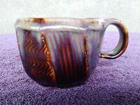 Signed Handmade Stoneware Pottery Brown Coffee Mug Cup Chunky Brutalist