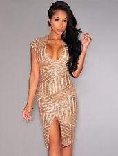 New gold deep V-neck sequin midi dress club wear party wear Size M UK 10