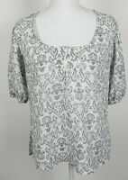 Ann Taylor LOFT Womens Blouse Size 6 White Gray Floral Scoop Neck Half Sleeve