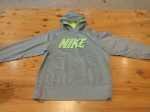 NIke Therma-Fit Boys Hoodie Gray with Bright Yellow Logo Top Size Small S