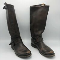 Frye Veronica Womens Boots Size 7 Leather Slouch Riding Buckle Brown