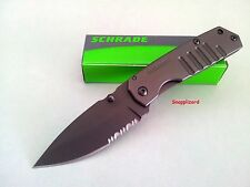 "Schrade 3.4"" Mini Frame Lock Drop Point Combo Edge SCH304MS Folding Pocket Knife"