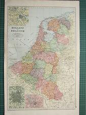 1900 GRANDE Vittoriano mappa ~ Holland & Belgio Amsterdam Anversa dintorni di Bruxelles
