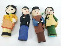 Vintage Asian Chinese Oriental Dolls Wood Peg Body Clothed  Handmade