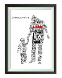 Personalised Fathers Day Gifts Dad Daddy Son Birthday Word Art Print ONLY