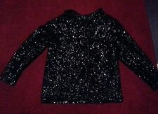 Valentina Ltd 1960s Black Sequin Mock Neck Long Sleeved Sweater Top Ladies small