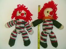 2 Handmade Crochet Knitted Yarn Amigurumi Plush Clowns Clown Toys
