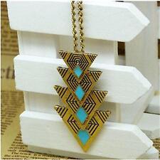 New Statement Bib Vintage Triangle Pendant Charming Choker Long Chain Necklace