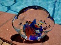 VTG~MURANO~ITALY~ART GLASS~AQUARIUM ~TROPICAL FISH~CORAL~HANDBLOWN~PAPERWEIGHT