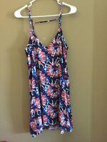 NWT Mimi Chica Women's Asymmetrical Hem Multicolor Print Dress Size M