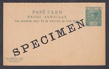 Malaya, Negri Sembilan H&G 2 mint 1897 1c SPECIMEN Postal Reply Double Card