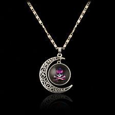 Cute Purple Skull Glass Cabochon Pendant Necklace Hollow Moonstone Sweater chain