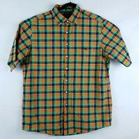 Rodd & Gunn Men's Short Short Sleeve Shirt in Navy, Orange & Green Check Size XL