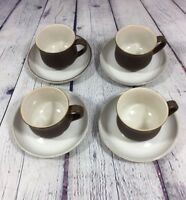 4 Vintage Denby Honey Potpourri Coffee Cups & Saucers / Brown Stoneware England