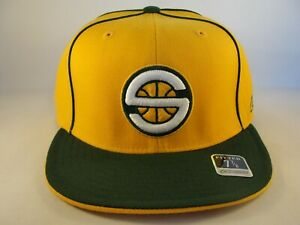 Seattle Supersonics NBA Reebok Fitted Hat Cap Size 7 7/8 Gold Green