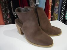 NEXT Brown Faux Suede Heels Ankle Boots with High Cuffs Round Toes UK Size 4