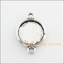 10Pcs Tibetan Silver Tone Round Picture Frame Charms Connectors 14x20.5mm