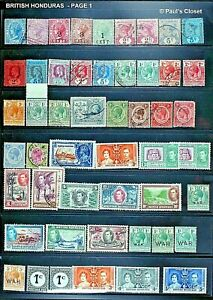 BRITISH HONDURAS 1882-1965~ESTATE COLL. 91 STAMPS~MHN, MLH, UNG OG~F/VF C PHOTO