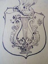 ADOLPHE LALYRE -LALIRE-La Lyre- Dessin original -XIXe-drawing