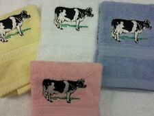 A Personalised Cow Face Cloth With Name Birthday Gift Flannel Embroidered!