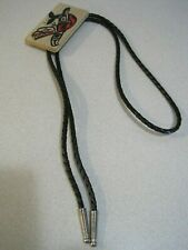Native Indian Painted Art on Wood Bolo Tie KILLER WHALE Signed