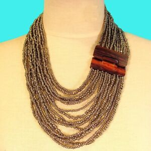 """24"""" Silver Color Multi Strand Wood Buckle Waterfall Handmade Seed Bead Necklace"""