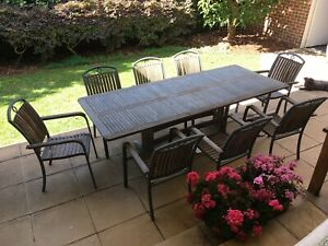 Schots 9 piece Teak timber outdoor setting (table and 8 chairs)